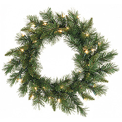 24 Inch Imperial Pine Artificial Christmas Wreath 50 LED Warm White Lights