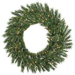 4 Foot Imperial Pine Wreath 200 LED Warm White Lights