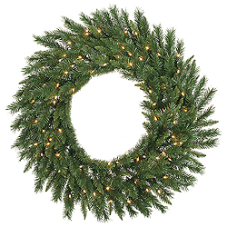 6 Foot Imperial Pine Wreath 200 LED Warm White Lights