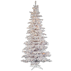 6.5 Foot Flocked White Slim Artificial Christmas Tree 300 DuraLit Clear Lights