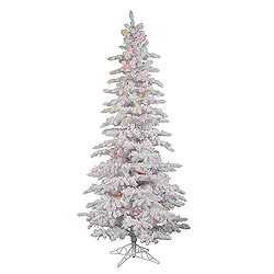 6.5 Foot Flocked White Slim Artificial Christmas Tree 300 DuraLit Multi Lights