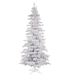 7.5 Foot Flocked White Slim Artificial Christmas Tree 400 LED Multi Lights