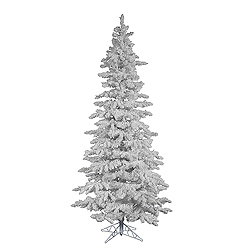 9 Foot Flocked White Slim Artificial Christmas Tree Unlit