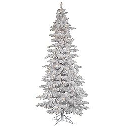 9 Foot Flocked White Slim Artificial Christmas Tree 550 LED Warm White Lights