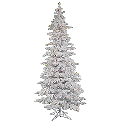 10 Foot Flocked White Slim Artificial Christmas Tree 650 LED Warm White Lights