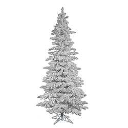 12 Foot Flocked White Slim Artificial Christmas Tree Unlit