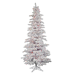 12 Foot Flocked White Slim Artificial Christmas Tree 900 LED Multi Lights