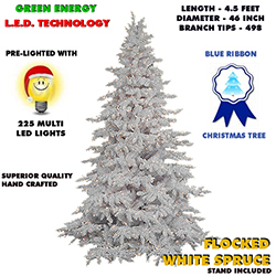 4.5 Foot Flocked White Spruce Lighted Artificial Christmas Tree Multi Lights