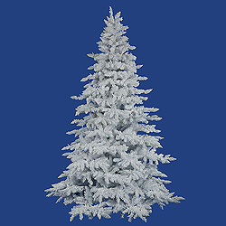 6.5 Foot Flocked White Spruce Artificial Christmas Tree Unlit