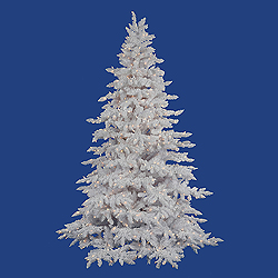 6.5 Foot Flocked White Spruce Lighted Artificial Christmas Tree White Lights