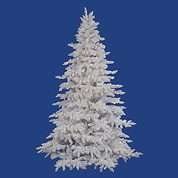 7.5 Foot Flocked White Artificial Christmas Tree 850 DuraLit Clear Lights