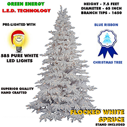 7.5 Foot Flocked White Spruce Lighted Artificial Christmas Tree White Lights