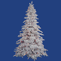 7.5 Foot Flocked White Artificial Christmas Tree 850 DuraLit Multi Lights