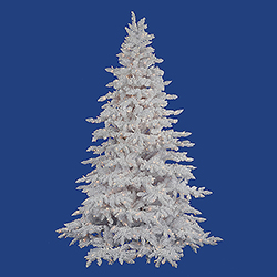 9 Foot Flocked White Artificial Christmas Tree 1200 DuraLit Clear Lights