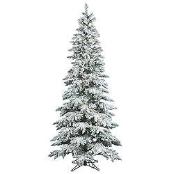 6.5 Foot Flocked Slim Utica Artificial Christmas Tree 300 LED Warm White Lights