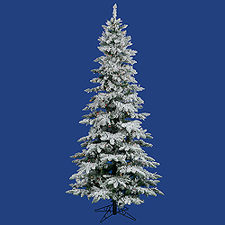 6.5 Foot Flocked Slim Utica Artificial Christmas Tree 300 LED Multi Lights