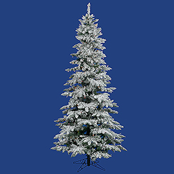 10 Foot Flocked Slim Utica Artificial Christmas Tree 700 LED Multi Lights