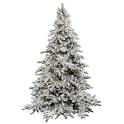 4.5 Foot Flocked Utica Artificial Christmas Tree 250 LED Warm White Lights