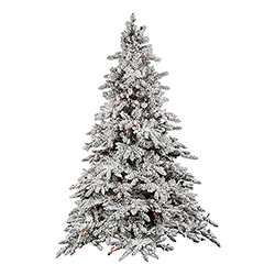 9 Foot Flocked Utica Fir Artificial Christmas Tree 1200 DuraLit Mu Light i Lights