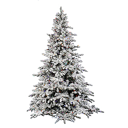 9 Foot Flocked Utica Artificial Christmas Tree 1200 Mu Light i Lights