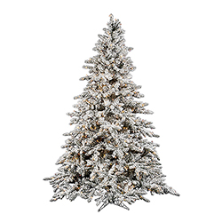10 Foot Flocked Utica Artificial Christmas Tree 1450 DuraLit Clear Lights