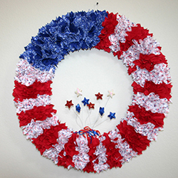 24 Inch Patriotic American Flag Fabric Wreath