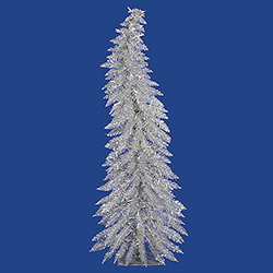 2.5 Foot Silver Whimsical Artificial Christmas Tree - 35 DuraLit Incandescent Clear Mini Lights