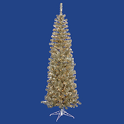 4.5 Foot Champagne Pencil Pine Artificial Christmas Tree 150 Clear Lights
