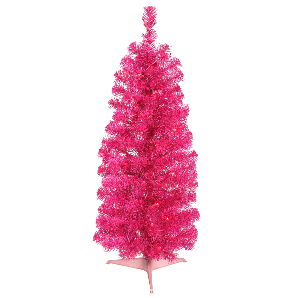 2 Foot Pencil Pink Artificial Christmas Tree  35 Pink Lights