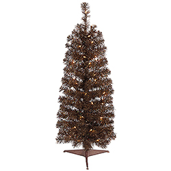 4.5 Foot Pencil Mocha Artificial Christmas Tree 150 Clear Lights