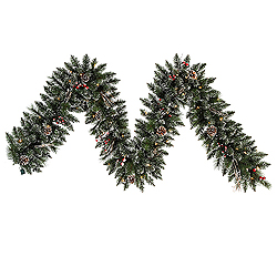 9 Foot Snow Tip Pine Berry Garland 50 Clear Lights
