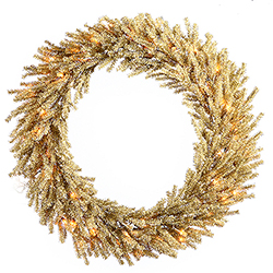 30 Inch Champagne Wreath 50 Clear Lights