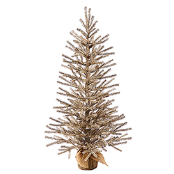 1.5 Foot Mocha Artificial Christmas Tree - Unlit - Burlap Base