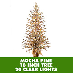 18 Inch Mocha Artificial Christmas Tree Burlap Base 20 Clear Lights