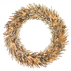 30 Inch Mocha Wreath 50 Clear Lights 2 per Set