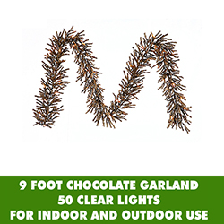 9 Foot Chocolate Garland 50 Clear Lights