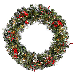 24 Inch Siegal Berry Pine Wreath 35 Clear Lights