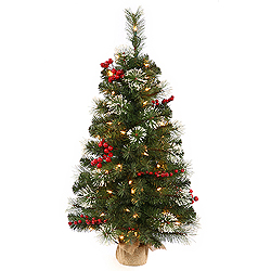 2 Foot Siegal Berry Pine Artificial Christmas Tree - 35 Incandescent Clear Mini Lights - Burlap Base