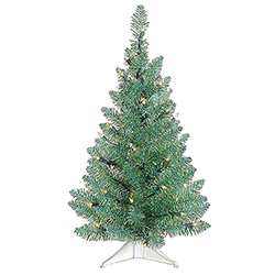 24 Inch Turquoise Green Pine Artificial Christmas Tree 35 Clear Lights