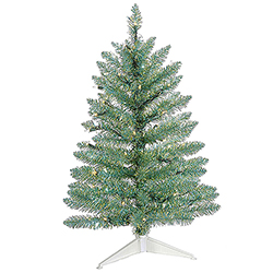 2.5 Foot Turquoise Green Pine Artificial Christmas Tree 50 Clear Lights