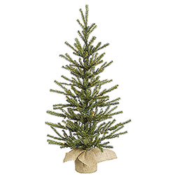 2.5 Foot Sparkle Green Pistol Pine Artificial Christmas Tree - Unlit - Burlap Base