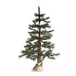 4 Foot Norwegian Pine Artificial Christmas Tree Burlap Base 100 Clear Lights