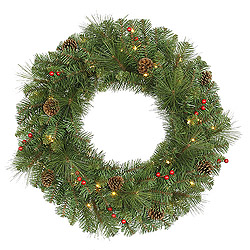 30 Inch Cambridge Wreath 50 Clear Lights