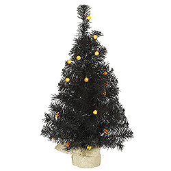 2 Foot Black Pine Artificial Halloween Tree 25 LED G12 Orange Globe Lights