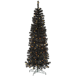 6.5 Foot Black Pencil Pine Artificial Christmas Tree 200 LED G12 Orange Lights