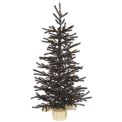 3 Foot Black Pistol Artificial Halloween Tree 50 LED M5 Orange Lights