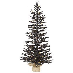 4 Foot Black Pistol Artificial Halloween Tree 100 LED M5 Orange Lights