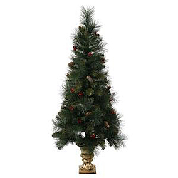 4 Foot Mixed Pine Berry Cone Potted Artificial Christmas Tree Unlit