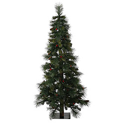 5 Foot Mixed Pine Berry Cone Alpine Artificial Christmas Tree Unlit