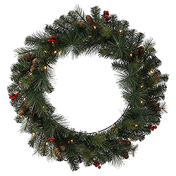 24 Inch Mixed Pine Berry Cone Wreath 35 Clear Lights